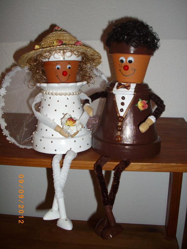 cr ation cadeau mariage couple de mari en pot de fleurs cr ations personnage en pot de. Black Bedroom Furniture Sets. Home Design Ideas