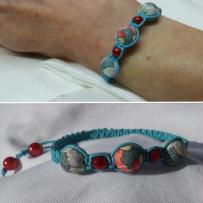 Cration bracelet shamballa turquoise - cordon de cuir