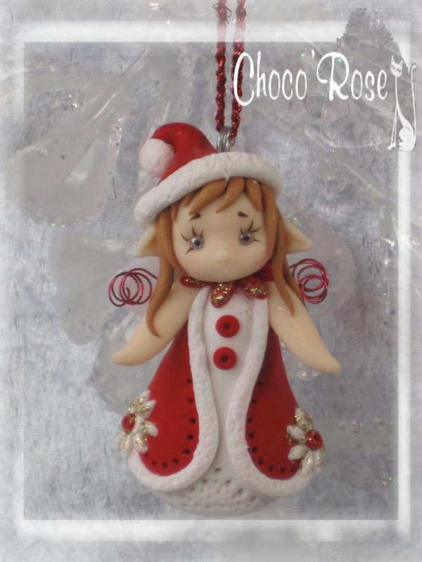 Cr ation figurine de no l en p te fimo rosy fairy aveleen suspendre au sapin cr ations - Decoration noel pate fimo ...