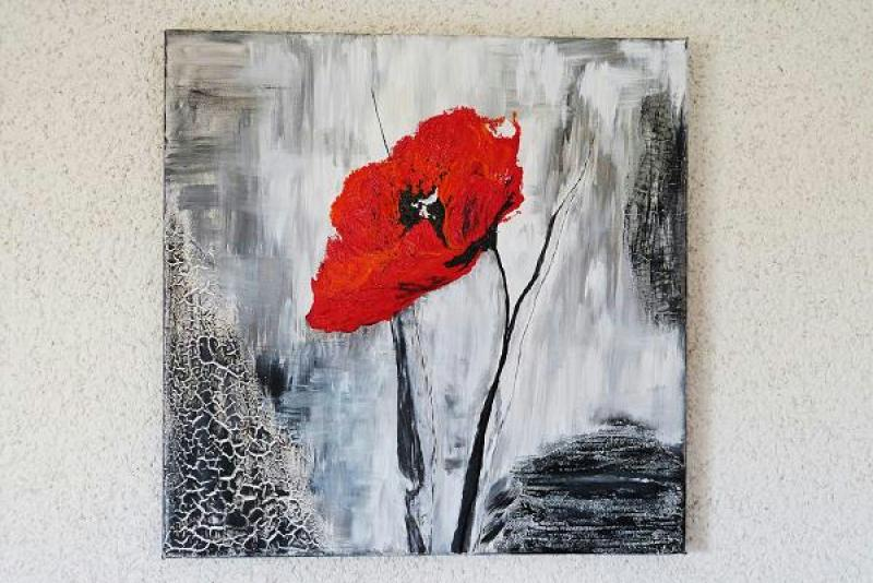 Cr ation peinture acrylique deuxi me tableau coquelicot for Tableau de coquelicot en peinture