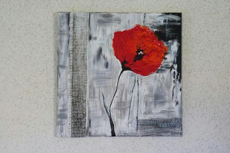 Cr ation peinture acrylique tableau de coquelicot rouge - Creation tableau photo ...