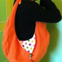 Cration sac goutte rversible orange et pois