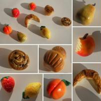 Magnets Fruits et viennoiseries en fimo