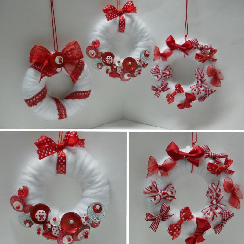Cr ation d co de no l en rouge et blanc mini couronnes cr ations d corati - Creation couronne de noel ...