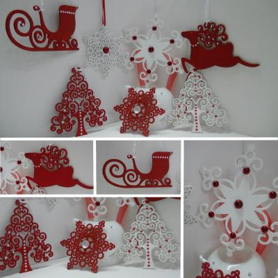 D coration de no l en rouge et blanc d corations de for Decoration sapin de noel rouge et blanc