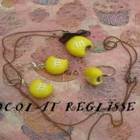 Parure m&m's jaune, chocolat croqu enrobage jaune