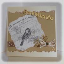Cration carte de voeux vintage en kraft et or