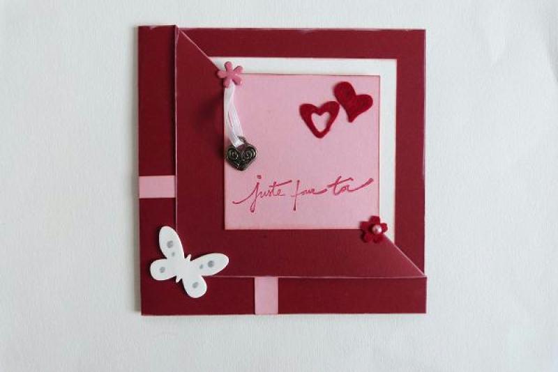fabrication carte d 39 anniversaire rouge rose et blanc cr ations carterie faire part de. Black Bedroom Furniture Sets. Home Design Ideas