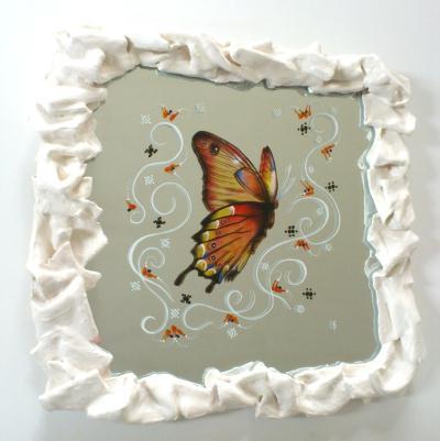 peinture sur miroir avec cadre en platre papillon cr ations home d co et miroir de. Black Bedroom Furniture Sets. Home Design Ideas
