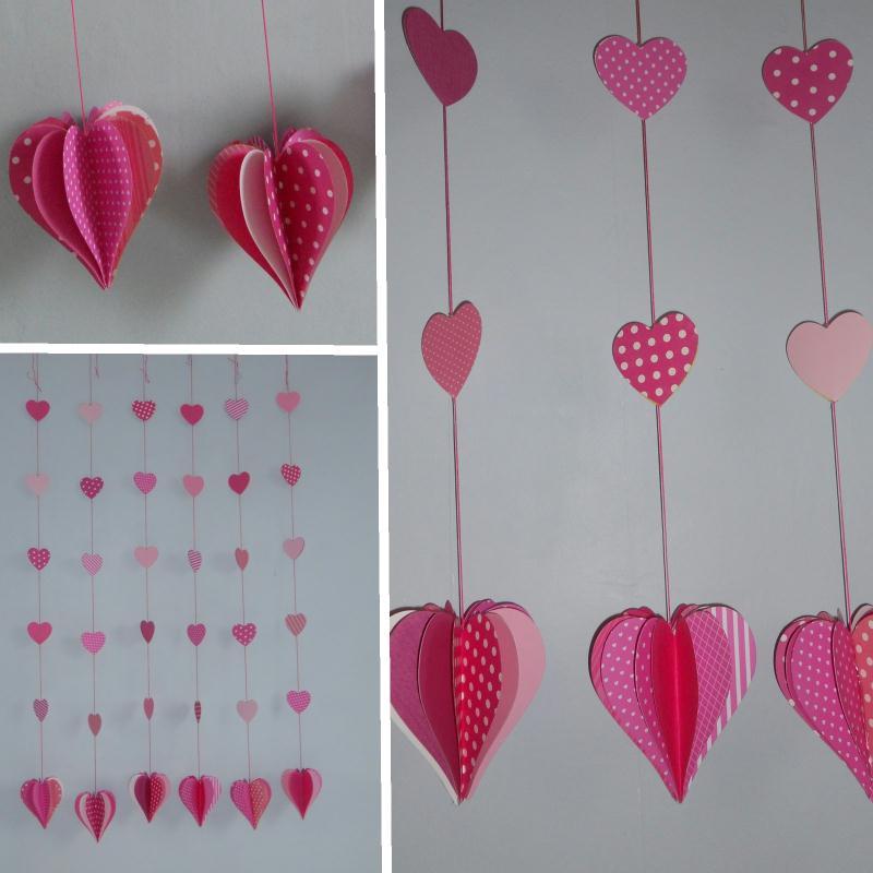 Décoration Saint Valentin - guirlandes de coeurs en papier ...
