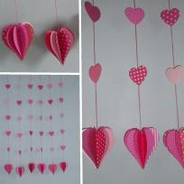 Dcoration Saint Valentin - guirlandes de coeurs en papier
