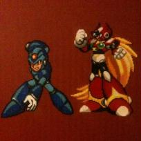 Cration perles Hama : pixel art bead sprites Zero et megaman
