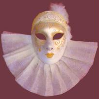 Cration masque colombine blanc et or