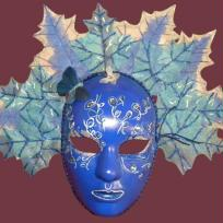Cration masque feuilles bleu et argent