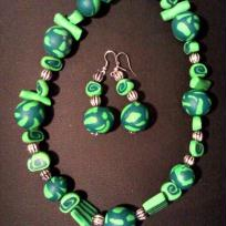 Cration Collier FIMO - VERT MILLEFIORI