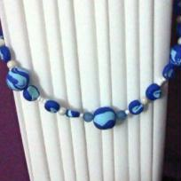 Ralisation Ensemble Collier / boucles / bague en pte FIMO bleu