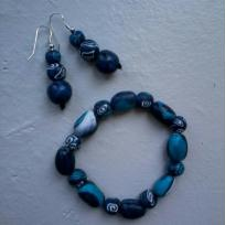 Cration bijou en fimo : Lagon bleu, bracelet et boucles d'oreille en pte fimo