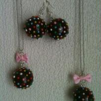Cration candy cruch sautoir et boucles d'oreilles en fimo