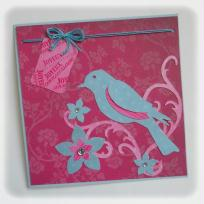 Cration carte d'anniversaire - Un oiseau sur une branche fleurie