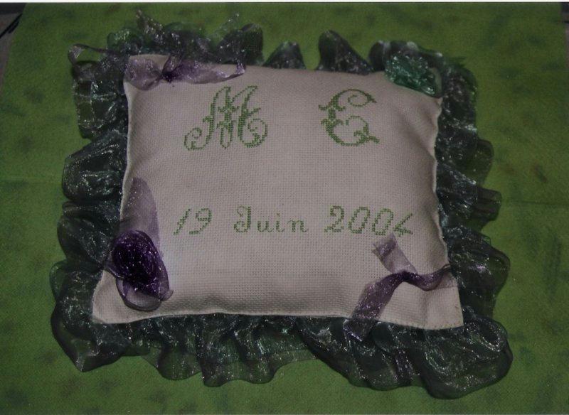 Coussin alliance mariage - Créations Point de croix de MARINA n°5561 ...