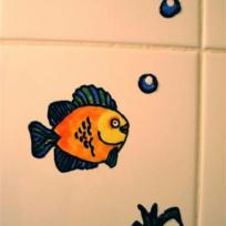 Poissons dans salle de bain
